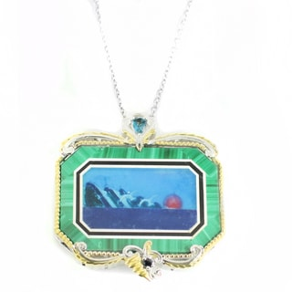 One-of-a-kind Michael Valitutti Malachite Carnelian Mosaic Pendant with London Blue Topaz and Blue Sapphire