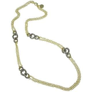 Isla Simone - 18 Karat Gold Electro Plated Double Row Link Necklace With Stations Silver Plated Twisted Clusters