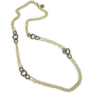Isla Simone - 18 Karat Gold Electro Plated Double Row Link Necklace With Stations Silver Plated Twis