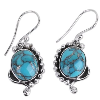 Handcrafted Sterling Silver 'Blue Indian Paisley' Turquoise Earrings (India)
