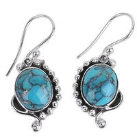 Handmade Sterling Silver 'Blue Indian Paisley' Turquoise Earrings (India)