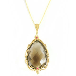 One-of-a-kind Michael Valitutti Smokey Quartz and Pink Sapphire Pendant