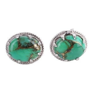 Handmade Sterling Silver 'Morning in Green' Turquoise Earrings (India)