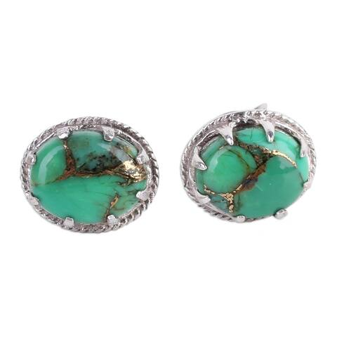 NOVICA Sterling Silver Morning in Green Turquoise Earrings