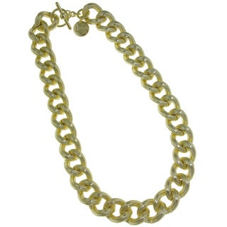 Isla Simone - 18 Karat Gold Electro Plated Thick Textured Twisted Link Necklace