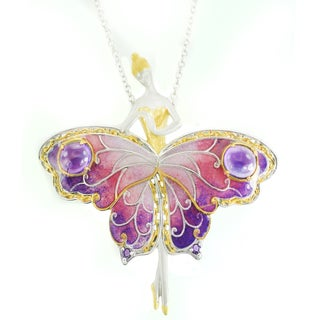 One-of-a-kind Michael Valitutti Amethyst and Enamel Fairy Satin Pendant