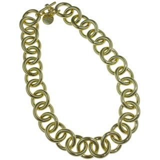 Isla Simone - 18 Karat Gold Electro Plated Circle Link Necklace