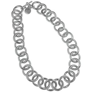 Isla Simone - Fine Silver Plated Circle Link Necklace