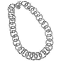 Isla Simone - Fine Silver Plated Circle Link Necklace - White