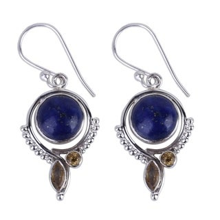 Handcrafted Sterling Silver 'Glory in Blue' Lapis Lazuli Citrine Earrings (India)