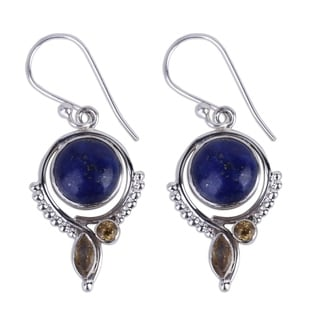 Handmade Sterling Silver 'Glory in Blue' Lapis Lazuli Citrine Earrings (India)