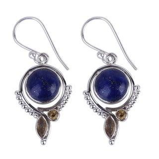 Handmade Sterling Silver 'Glory in Blue' Lapis Lazuli Citrine Earrings (India)