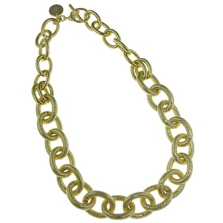 Isla Simone - 18 Karat Gold Electro Plated Two Link Necklace With Textured Oval Links