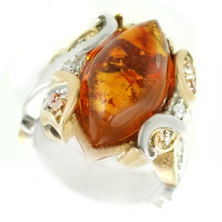 One-of-a-kind Michael Valitutti Baltic Amber Cocktail Ring with Spessartite Garnet and Orange and White Sapphire