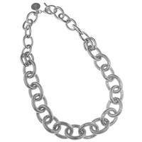 Isla Simone - Fine Silver Plated Two Link Necklace With Textured Oval Links