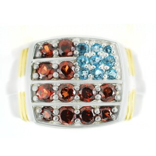 One-of-a-kind Michael Valitutti London Blue Topaz and Garnet American Flag Men's Ring
