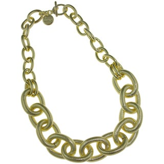 Isla Simone - 18 Karat Gold Electro Plated Two Link Necklace With Large Textured Oval Links
