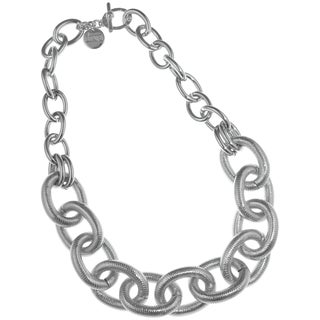 Isla Simone - Fine Silver Plated Two Link Necklace With Large Textured Oval Links