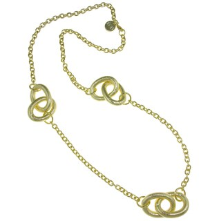 Isla Simone - 18 Karat Gold Electro Plated Necklace With Stations Of Large Corrugated Links