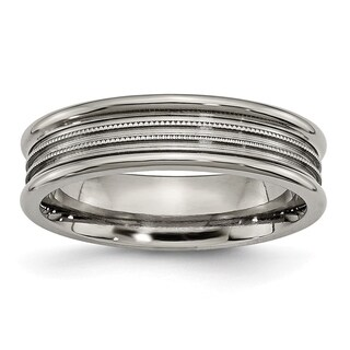 Titanium Grooved and Beaded 6mm Band