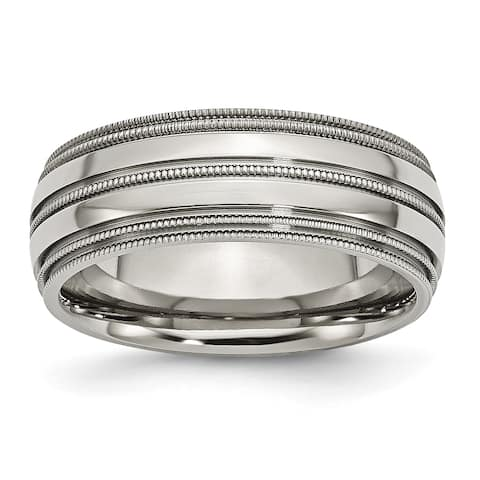 Chisel Titanium Grooved and Beaded Edge 8mm Band