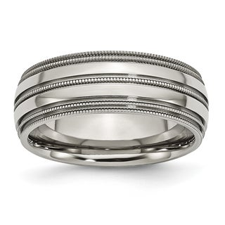 Titanium Grooved and Beaded Edge 8mm Band
