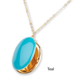 "Mint Jules Enamel Oval Picture Locket 24-26"" Necklace - 24 to 26"" (3 options available)"