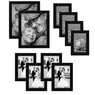 10-piece Multi Pack Black Picture Frame Value Set with Frames for Four 4 x 6-inch, Four 5 x 7-Inch, and Two 8 x 10-inch Photos|https://ak1.ostkcdn.com/images/products/12882551/P19642010.jpg?_ostk_perf_=percv&impolicy=medium