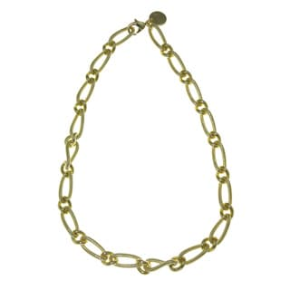 Isla Simone - 18 Karat Gold Electro Plated Corrugated And Polished Twisted Link Necklace