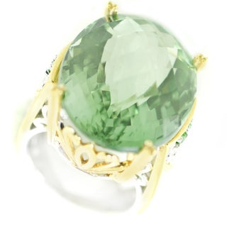 One-of-a-kind Michael Valitutti Check Top Green Amethyst and Chrome Diopside Cocktail Ring