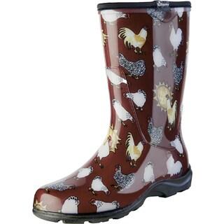 Sloggers 5016CBR06 Red Chicken Print Women's Rain & Garden Boot