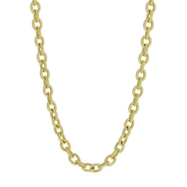 18K Gold Electro Plated Oval Anchor Link Chain Necklace with Toggle