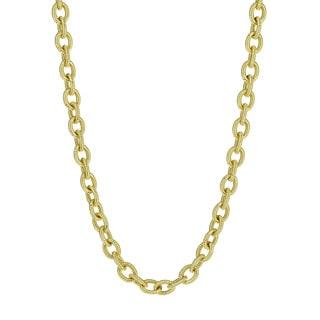 Isla Simone - 18 Karat Gold Electro Plated Corrugated Oval Link Necklace