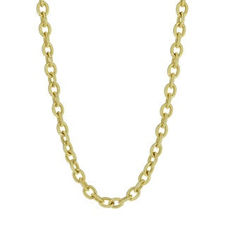 Isla Simone - 18 Karat Gold Electro Plated Corrugated Oval Link Necklace