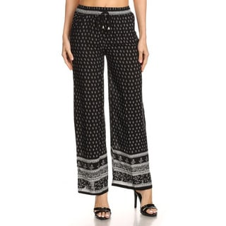 JED Women's Black Polyester Elastic Waist Relax Fit Boho Pants