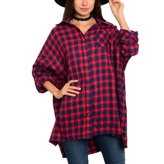 JED Women's Red Cotton Boyfriend-fit Plaid Button-down Shirt