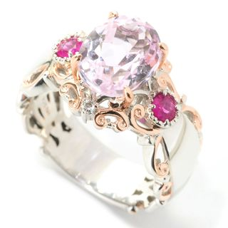 Michael Valitutti Palladium Silver Kunzite with Pink and White Sapphire Cocktail Ring