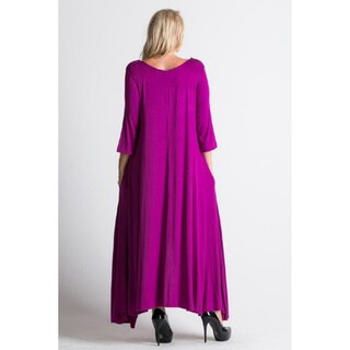 A Plus Style Apparel Women's Rust/Magenta Polyester Flared Maxi Dress with Pockets
