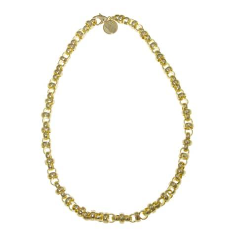 Isla Simone - 18 Karat Gold Electro Plated Cross Link Chain Necklace