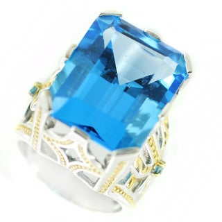 One-of-a-kind Michael Valitutti Super Swiss Blue Topaz and Blue Sapphire Cocktail Ring