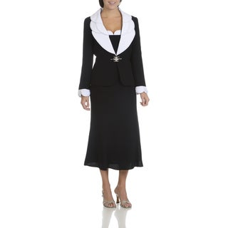 Giovanna Signature Women's Black Polyester Rhinestone-embellished Layered Collar and Cuff 2-piece Skirt Suit