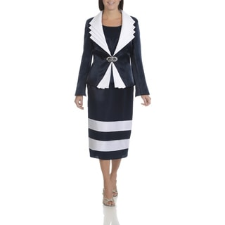 Giovanna Signature Women's White and Blue Pleated Layered Collar 3-piece Skirt Suit