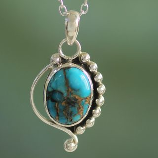 Handcrafted Sterling Silver 'Blue Indian Paisley' Turquoise Necklace (India)