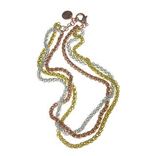 Isla Simone - 18 Karat Gold, Rose Gold, and Silver Plated Three Row Necklace