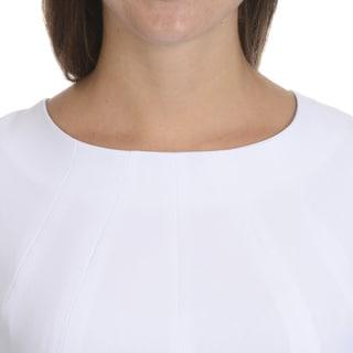 Giovanna Signature Women's White/ Black Long Sleeve Knee Length Dress