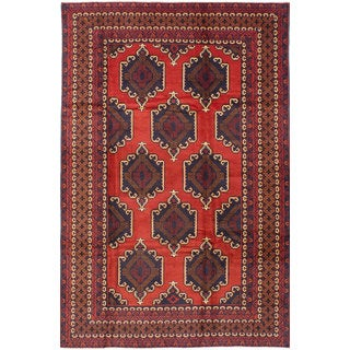 eCarpetGallery Rizbaft Blue/Brown Wool Hand-knotted Rug (6'8 x 10'0)