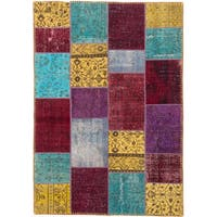eCarpetGallery Hand-knotted Color Transition Patchwork Burgundy/Teal/Green/Yellow Wool Rug (5'7 x 8'0)