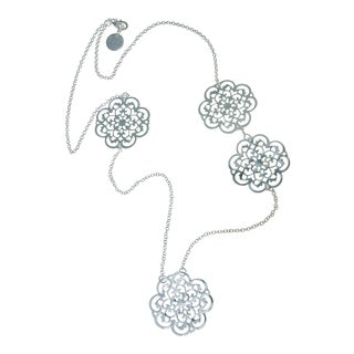 Isla Simone - Fine Silver Plated Long Clover Fashion Necklace