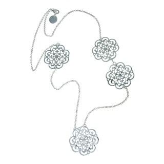 Isla Simone - Fine Silver Plated Long Clover Fashion Necklace
