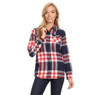 Women's Cotton Plaid Button Down Shirt